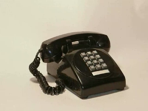 A Bell Telephone design with push buttons and a vestigal dial shape, taken from this animation of designs. It's possibly a 1500 series prototype.
