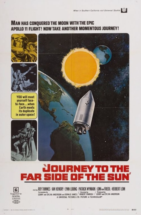Doppelgänger, aka Journey to the Far Side of the Sun (1969), a British film directed by Robert Parrish, produced by Gerry and Sylvia Anderson.  With Roy Thinnes (the American star of The Invaders series).   A planet is discovered in the same orbit as Earth's but is located on the exact opposite side of the sun, making it not visible from Earth. The European Space Exploration Council decide to send American astronaut Glenn Ross and British scientist John Kane via spaceship to explore the other planet.  This film made a lasting impression on me when I was young.  The effects are good for the time and the story is original.  I didn't see it again.  I don't know if it aged well, but it's really unique.