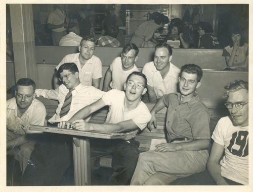Oak Ridge workers hitting the lanes at one of the Reservation's several bowling alleys.