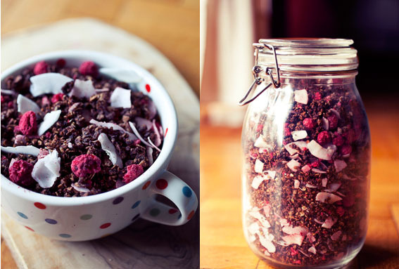 vegan-yums:  Choco-coco Raspberry Granola by Ninaroid on Flickr.