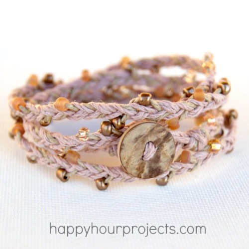 truebluemeandyou:  DIY Beaded Hemp Braided Bracelet with a Button Closure Tutorial from Happy Hour Projects here. This is a really easy DIY because you only need to know how to do a basic three strand braid. For over 80 pages of  bracelet DIYs go here: truebluemeandyou.tumblr.com/tagged/bracelet and for friendship bracelets go here: truebluemeandyou.tumblr.com/tagged/friendship