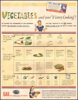 """Vegetables and your victory cooking""American Gas Association ad1942(via GOGD)"