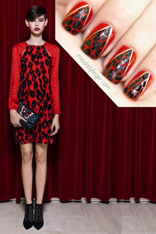MANICURE MUSE: Moschino Cheap & Chic Pre-Fall '13 Rawrrr! Feeling feisty for more animal-printed Holiday nail art? Today on MLF: Moschino Cheap & Chic Pre-Fall '13 Ladyfingers…