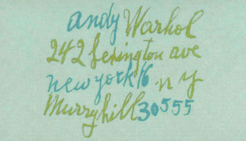 Typeverything.com Andy Warhol's business card, with lettering by his mother. (via @MatDolphin)