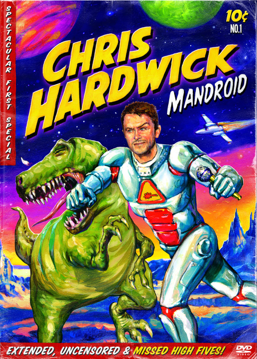 Chris Hardwick: Mandroid drops Tuesday on an extended CD and DVD. And if you think this cover art is great, you'll definitely want to pop over to Nerdist to see a bunch of really cool conceptual sketches that led to the final version.