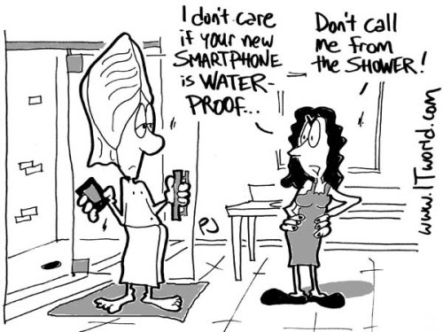 My weekly cartoon and tech jokes for ITworld.com…  Happy Friday! itworld360:  Do we really need waterproof smartphones? That and some topical tech jokes in this week's Weekly Hash. Image source: ITworld/Phil Johnson