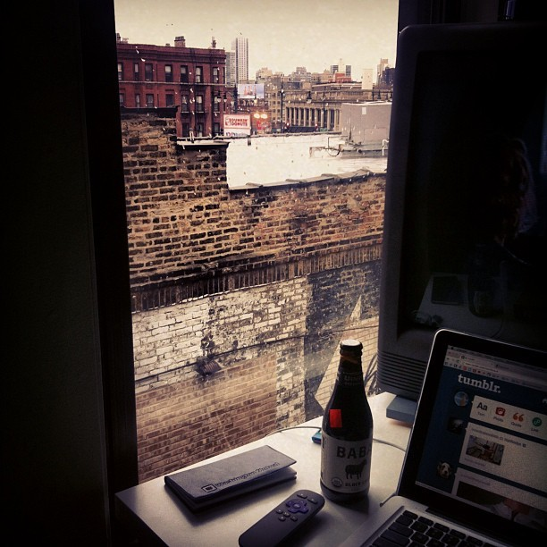 My awesome new apartment desk and view. #Chicago
