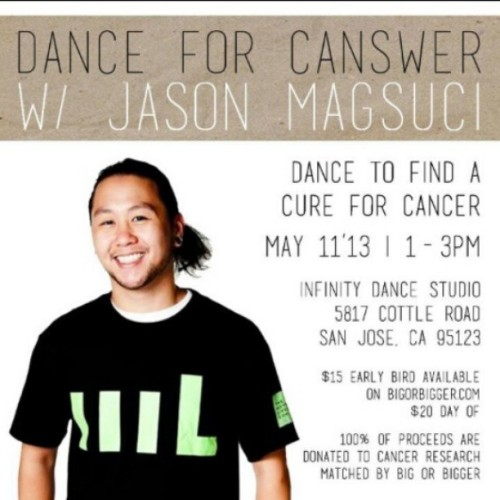 THIS SATURDAY join us in San Jose for May's #DANCE4CANSWER workshop with @magsexy! 100% of proceeds will be donated to cancer research (and matched by us)! Reserve your spot now: http://www.bit.ly/12YjZzY #dance #hiphop #cancersucks #inspiration