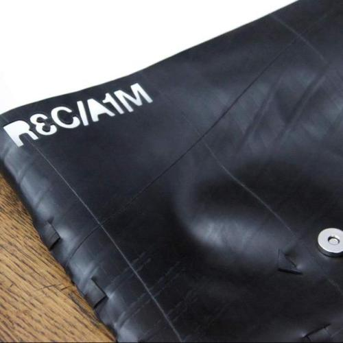 "Reclaim Bags by Sophie Postma: One young designer upcycling rubber inner tubes into a collection of classy accessories CH Contributor, coolhunting.com by Paul Armstrong Most people would balk at being given ""waste materials and innovation"" as a jumping off point, but 21-year-old Sophie Postma found inspiration instead. Her line of minimalist clutches, bags and iPad cases are…  Great slipd use of rubber inter tubes"