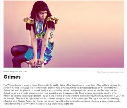 clubocean:  grimes-claireboucher:  Grimes - WEBBY ARTIST OF THE YEAR!!!!!!   perfect human