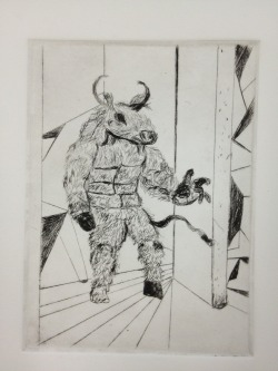 Asterion in the Broken Labyrinth. Automatic Drypoint print. Alan S. Tofighi. 2013.