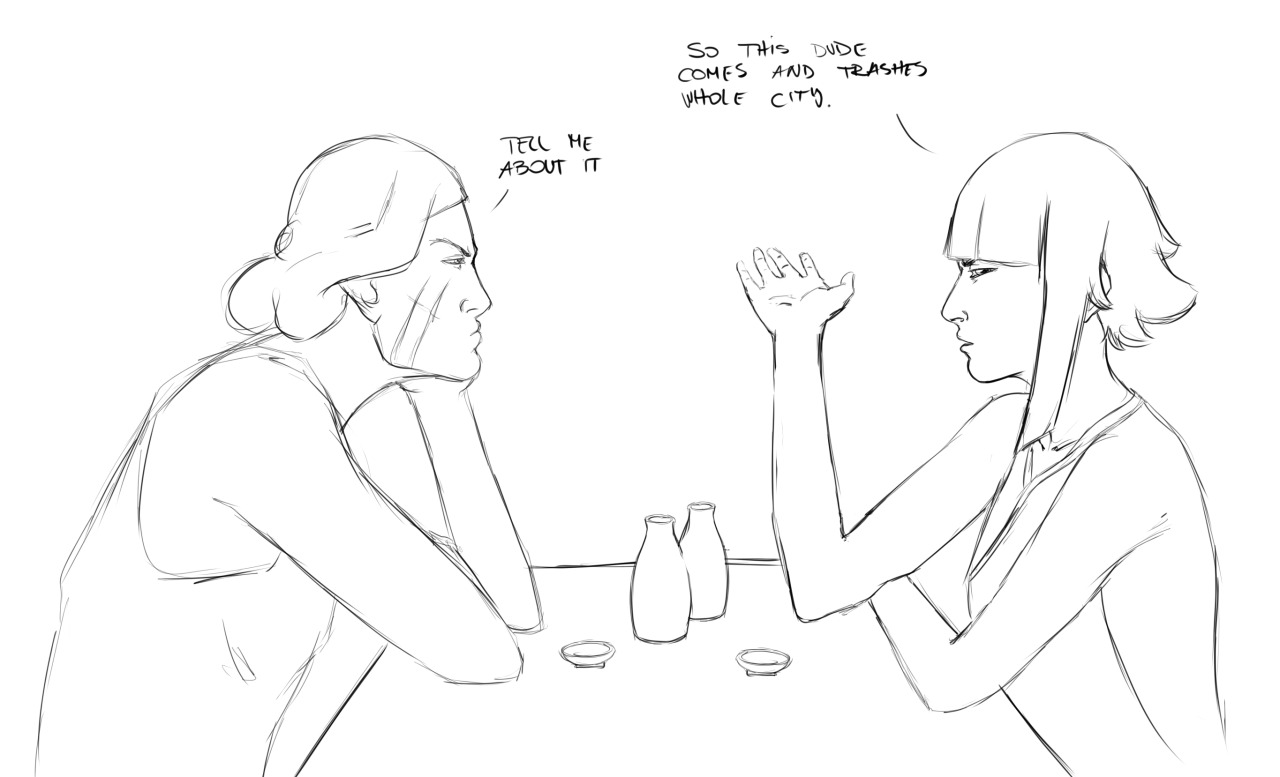 soundxpunos:  Soi Fon and Lin bc they both cops and they both got people trashing their cities. So yeah they went for drinks and to complain about it.