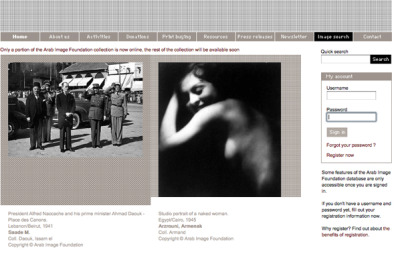 "[The Arab Image Foundation's archive search page.] ""I Have The Picture!"" Egypt's Photographic Heritage between Neoliberalism and Digital Reproduction (Part II)   The Arab Image Foundation (AIF)—a private archiving initiative founded by a group of artists and collectors in 1997, and run through foreign and local grants—appears on the surface like the very antithesis of the Library of Alexandria in Egypt (discussed in Part I of this article). While based in Beirut, the AIF holds a substantial collection of photographs from Egypt and represents an important model of archive and heritage-making in the region. The AIF's approach to preserving and curating its extensive photographic collection is highly professional. Its online database is well presented, described, and sourced. The author and source (provenance) of every image is acknowledged on the main website. Additional information about the technique and size of each photograph appears through the advanced search option once the viewer has registered on the website (registration is free). However, this online database is not entirely immune from criticism, most notably in how its search categories are constructed. Many of the categories are poorly chosen and seem to reflect the database-maker's own research interests: categories such as ""old woman,"" ""smiling,"" or ""frowning"" are subjective. While information about photographic technique and artifact size is given, there is no indication of medium (e.g., carte postale, carte de visite, part of an album, loose mounted or unmounted print). Such information remains crucial to the social and cultural historian in order to understand the circulation and usage of any given photographic object. Photographs should, ideally, also be scanned with their edges visible. Cropping the edges of a photographic object strengthens its reading as a dematerialised ""image,"" as it denies a key feature of its ""objectness."" In this particular context, cropping the photograph's edges is one way the AIF translates a three-dimensional social object into a two-dimensional aesthetic text. Compared to the Library of Alexandria, however, and compared to the very poor archiving record of the region in general, the AIF database appears as a breath of fresh air. Despite its shortcomings, it was clearly conceived by archivists (or by artists and photographers who share the archivist and historian's respect for the artifact) as well as for researchers.   Read more"