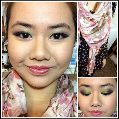 Bright makeup for once, yay!  Sugarpill palette: Heart Breaker  Guerlain lipstick: Extrait De Rose  Lorac lipgloss: 3D