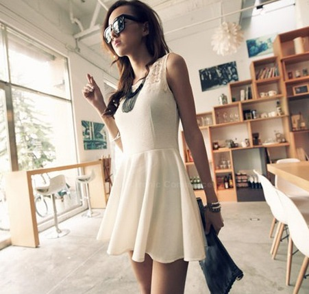 Elegant Splicing Design Solid Color Jacquard Weave Dress