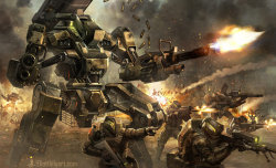 mechfight:  Warhounds Assault by ElliotLilyArt