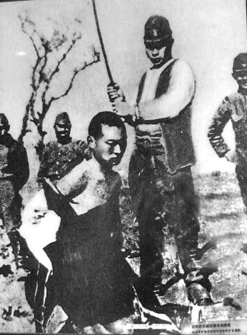 "Contest to kill 100 people using a sword In 1937, the Osaka Mainichi Shimbun and its sister newspaper the Tokyo Nichi Nichi Shimbun covered a ""contest"" between two Japanese officers, Toshiaki Mukai (向井敏明) and Tsuyoshi Noda (野田毅), both from Island troops, the Japanese 16th Division, in which the two men were described as vying with one another to be the first to kill 100 people with a sword before the capture of Nanking. From Jurong to Tangshan (two cities in Jiangshu Province, China), Toshiaki Mukai had killed 89 people while Tsuyoshi Noda had killed 78 people. The contest continued because neither of them had killed 100 people. When they got to Zijin Mountain, Tsuyoshi Noda had killed 105 people while Toshiaki Mukai killed 106 people. Both officers supposedly surpassed their goal during the heat of battle, making it impossible to determine which officer had actually won the contest. Therefore (according to the journalists Asami Kazuo and Suzuki Jiro, writing in the Tokyo Nichi-Nichi Shimbun of December 13), they decided to begin another contest, with the aim being 150 kills. The Nichi Nichi headline of the story of December 13 read ""'Incredible Record' [in the Contest to] Behead 100 People—Mukai 106 – 105 Noda—Both 2nd Lieutenants Go Into Extra Innings""."