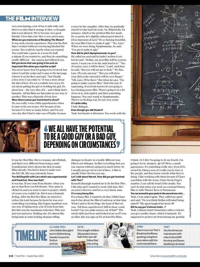 New article on Stellan Skarsgård in the September 2014 issue of TOTAL FILM magazine (UK). He's so funny!