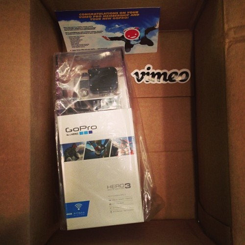 It came! Thanks @vimeo & @gopro! Now I just need something to jump off of.