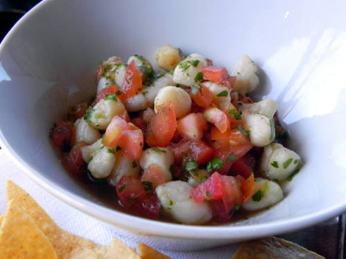 """Ceviche de Salú"" with shrimp, scallops, mahi, jalapeño and cilantro from Salú"