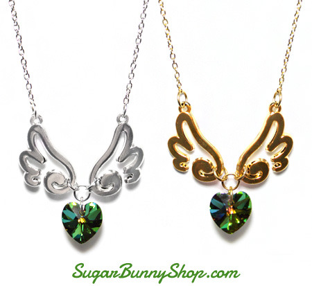 Green hearts have been added to the Wings of Love necklaces by popular demand :)http://www.sugarbunnyshop.com/collections/jewelry/necklaces