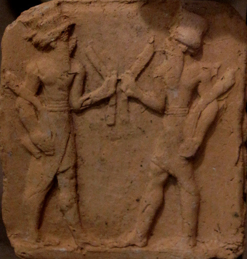 Clay plaque depicting Mesopotamian deities. Clay plaques are a hallmark of the Isin-Larsa/Old Babylonian Period. The Oriental Institute Museum of the University of Chicago, Chicago, IL.      Photo by Babylon Chronicle