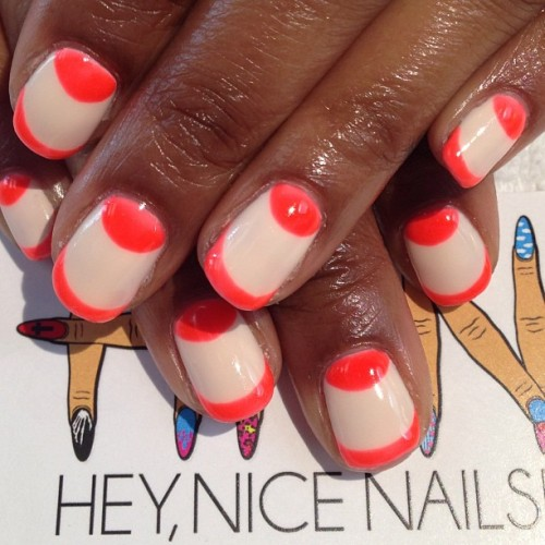 heynicenails:  Neon moons and tips #nailart #gels #longbeach (at Hey, Nice Nails!)