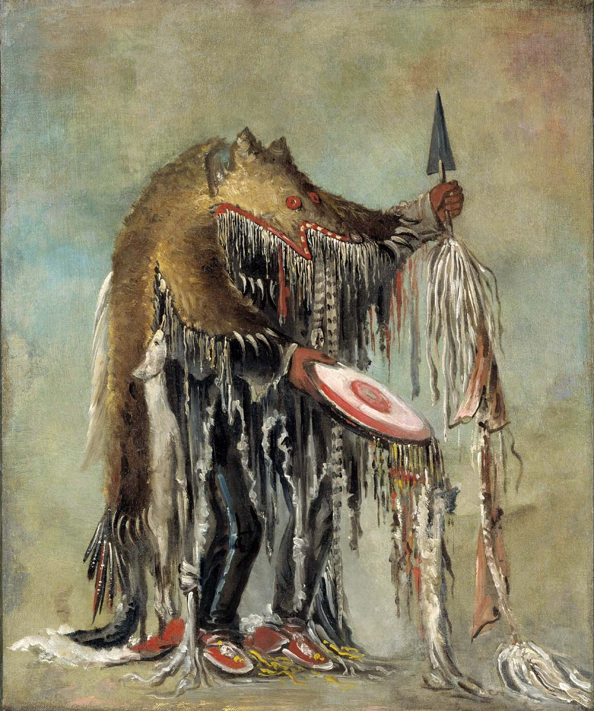 "cavetocanvas:  George Catlin, Medicine Man, Performing His Mysteries over a Dying Man, 1832 From the Smithsonian American Art Museum:  In 1832, George Catlin witnessed a dramatic ritual at Fort Union, two thousand miles northwest of St. Louis. According to the artist, the medicine man began the healing by administering roots and herbs. If this failed, he would try ""shaking his frightful rattles, and singing songs of incantation."" Catlin wrote that the medicine man's clothing often consisted of ""the skins of snakes, and frogs, and bats,—-beaks and tows and tails of birds,—-hoofs of deer, goats, and antelopes,"" each possessing ""anomalies or deformities,"" which gave them their healing power. This healer wore the skin of a yellow bear attached with the hides of snakes. Catlin actually owned the costume, and he sometimes wore it to enhance the spectacle of his Indian Gallery."
