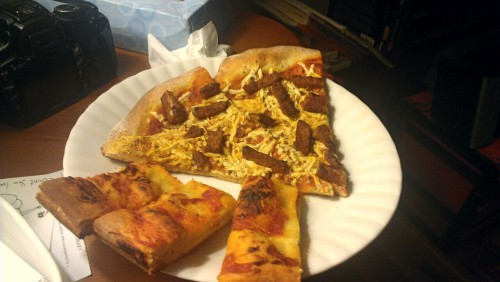 reblogged from jqmcandrew:  Dinner - basil, pignoli, tempeh pizza and stuffed garlic breadsticks.  Eat all the Italian things.