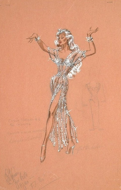 Vintage Tuesday: Great films, Great Costumes.  Sketches by Edith Head, the Golden Age costume designer.  Costume for Marilyn Maxwell in 'Rock-A-Bye Baby'.