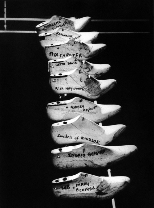 Shoe forms of iconic Hollywood actresses at Ferragamo.  (Thanks, Eric)
