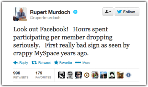 "futurejournalismproject:  Rupert Murdoch, offering advice to Facebook, via Twitter. Murdoch's News Corp (in)famously bought Myspace in 2005 for $580 million and sold it in 2011 to Specific Media for $35 million. During a 2011 annual meeting, he admitted that News Corp managed to ""mismanage it in every possible way.""  When Rupert talks, sometimes we listen. This is an interesting perspective on social media."