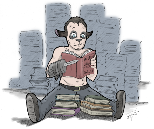 Merle, the black sheep reading french literature.