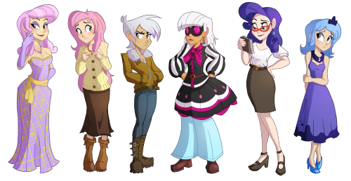 ric-m:  Human lineup of Fleur de Lis, Fluttershy, Gilda, Photo Finish, Rarity, and younger season 1 Luna requested by flawless-brony.