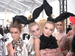 Madisyn Ritland, Jessica Stam, Lily Donaldson, and Kim Noorda backstage at Louis Vuitton F/W 2009-10.