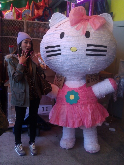 damoneyhoney:  ME AND A LIFE SIZE HELLO KITTY PINATA!!!