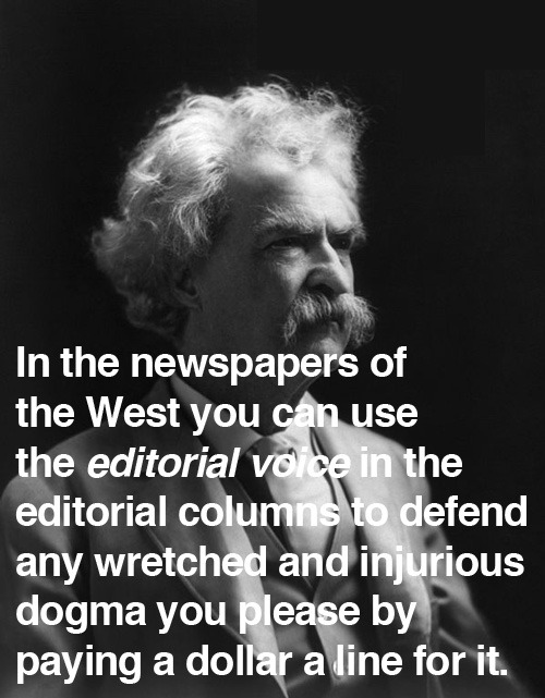 "Mark Twain on ""sponsored content"" and ""native advertising,"" 1873."