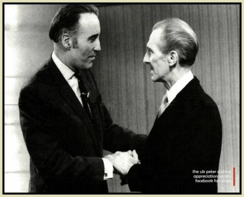 "eclectic-scriptorium:  Peter Cushing greeting Christopher Lee on ""This Is Your Life: Christopher Lee"", transmitted on UK television on April 3rd, 1974. (Click image for source)."