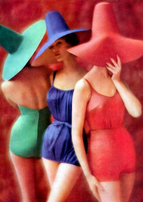 Jean Patchett.modelling swimwear, 1950s.