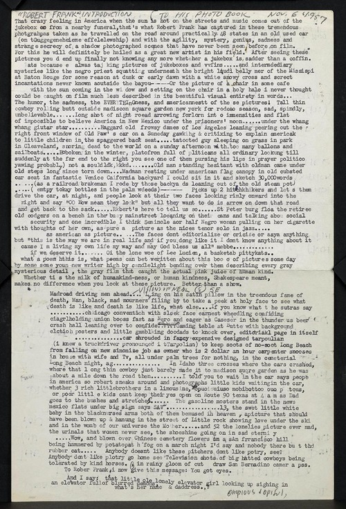 "rykketid:  The first draft of Jack Kerouac's introduction to Robert Frank's ""The Americans"""