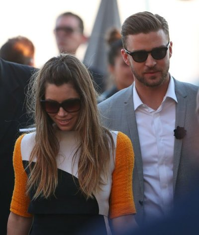 Jessica Biel and Justin Timberlake at the Canal + TV in Cannes, France on Monday.