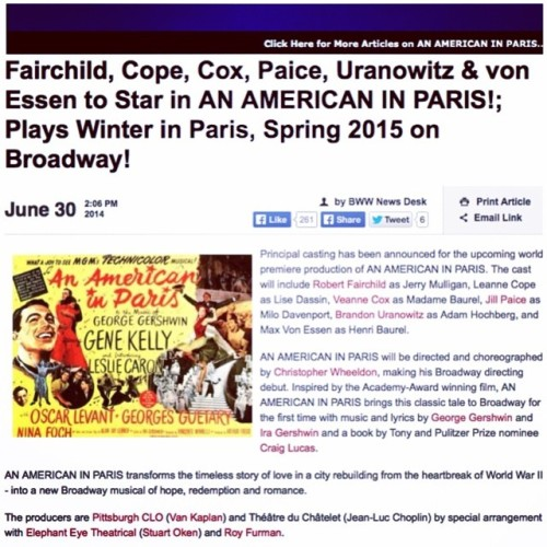 Well, it's official! Paris, here we come! Next stop, BROADWAY!! #AmericanInParis #stairwaytoparadise