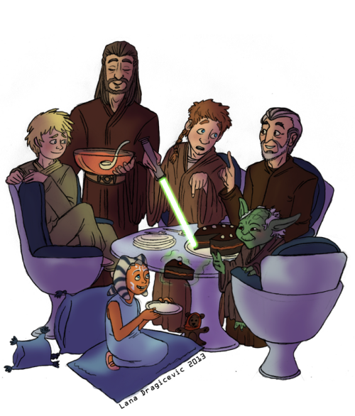 May 4th - Star Wars Day My fave Jedi Master and Apprentice lineage, featuring: Yoda, Dooku, Qui-Gon, Obi-Wan, Anakin and Ahsoka(The Dark Side may traditionally have cookies, but the Jedi's secret recipe of Double Chocolate Cake is something many a Sith has yearned for.)