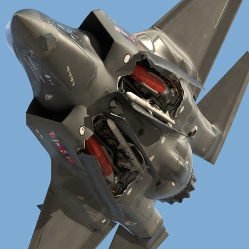 operationchastise:  Raptor weapon bay doors open  Thats an F-35… not an F-22 Raptor…