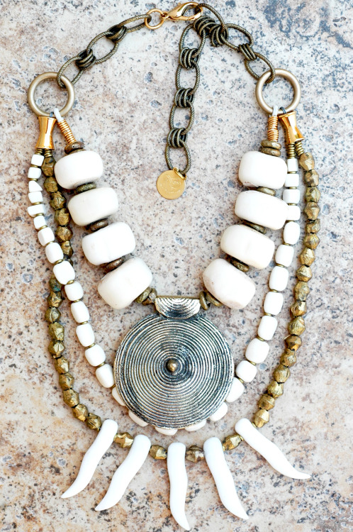 Custom Bone Tusk and Tibetan Brass Medallion Statement Necklace contact me about this necklace www.xogallery.com