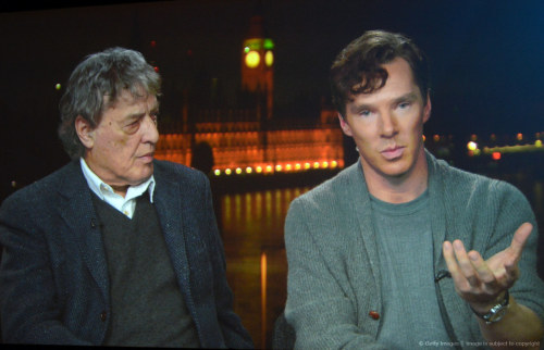 Writer Tom Stoppard and actor Benedict Cumberbatch speak (via satellite) during the HBO Winter 2013 TCA Panel at The Langham Huntington Hotel and Spa on January 4, 2013 in Pasadena, California. ETA: hi res  more: