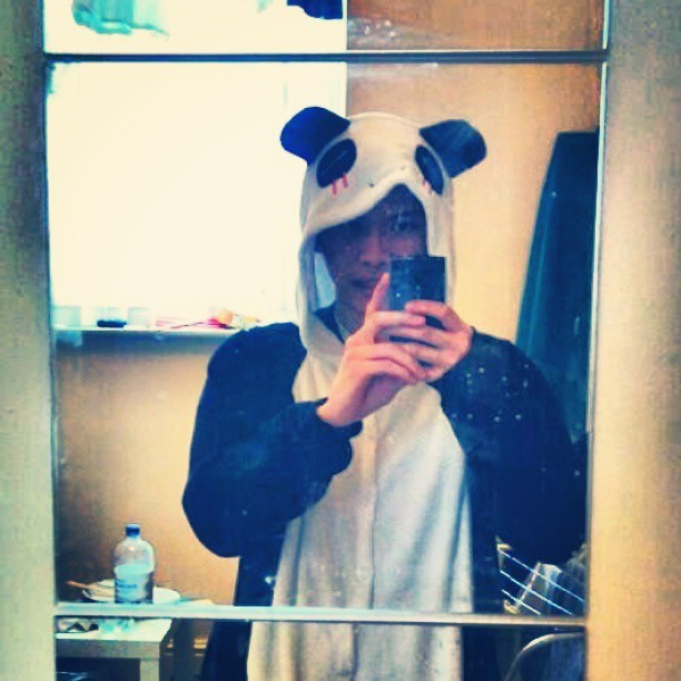 Here is a selfie. In a onesie. I'm a panda.