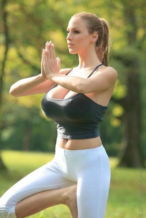 Busty yoga babe