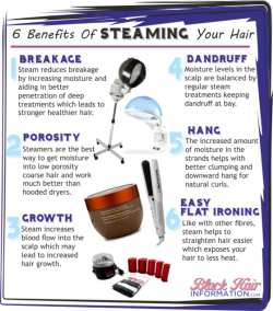 itsjustmyhair:  6 Benefits of Steaming Your Hair This is wonderful! When I 1st went natural, my hair was super dry and I believe I had BAD scab hair. My Hueitful Hair Steamer came just in time. At the time, I used to use Mixed Chicks Deep Conditioner and when I would use it with the steamer, my hair felt amazing! Using a steamer is a major part of my regimen because I have Low Porosity hair. It's the only way moisture can penetrate my hair leaving it soft and hydrated. Steaming is EVERYTHING!