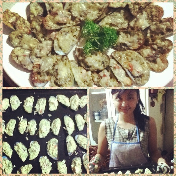 Made Baked Tahong (mussels) for dinner. 😄😜🍴#bakedmussels #seafood #dinner #food  (at Cavalry Hills)